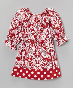 Look what I found on #zulily! Red Damask Dress - Toddler & Girls by Waistin' Away #zulilyfinds