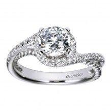 14k White Gold 0.25ct Diamond Gabriel & Co Bypass Semi Mount Engagement Ring