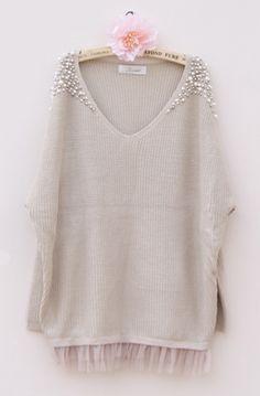 Beige Long Sleeve V-neck Pearls Embellished Shoulder Lace Jumper