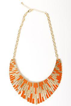 Golden Enamel Collar Necklace