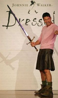 Leather kilt + BIG sword + Gerard Butler = me, a big giant puddle