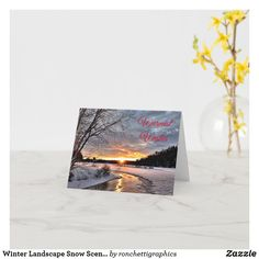 Winter Landscape Snow Scene Holiday Card Business Christmas Cards, Holiday Cards, Personalised Christmas Cards, Snow Scenes, Small Plants, Plant Design, Winter Landscape, Custom Greeting Cards, Zazzle Invitations
