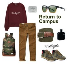 """Return To Campus"" by northgoodsco on Polyvore featuring Hollister Co., Valentino, Herschel Supply Co., Men's Society, Lacoste, Saddlebred, Smith, men's fashion and menswear"