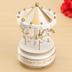 Wooden Golden Merry-Go-Round Music Box Christmas Birthday Gift Carousel Baby Toy