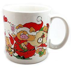 Ho Ho Ho Holiday Pig Coffee Mug 10oz Vintage Cup Christmas Santa Applause k511