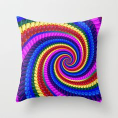 #Rainbow #Fractal Art Swirl #Pattern Throw #Pillow by Hippy Gift Shop #society6 #hippie #funky #cushion #homedecor