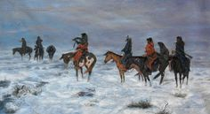 Lost in a snowstorm... 'We are Friends' - by Charles Marion Russell - (western, wild wild west, art)