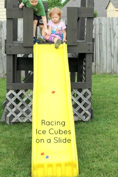 Cool off this summer while racing ice cubes down a ramp! A STEM and sensory activity for kids!