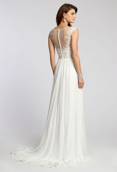 Beaded Lace Applique Dress with Illusion Neckline from Camille La Vie and Group USA