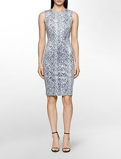 a sleeveless sheath dress designed with soft stretch suede fabric, a snake print and a silver hardware back zip. Business Dresses, Dresses For Work, Formal Dresses, Suede Fabric, Sophisticated Style, Snake Print, Sheath Dress, Designer Dresses, Calvin Klein