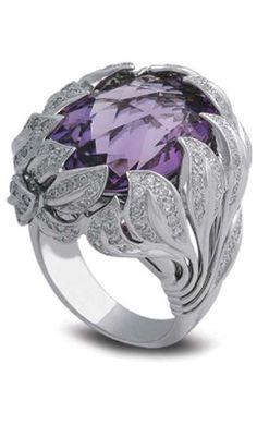 White gold, diamond, and amethyst ring by Samra