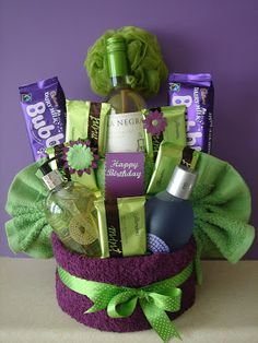 pamper cake (teacher gift) this would be a great teacher gift, less cookies, more wine please! Reesa BUchanan · pamper yourself basket