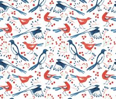 Birds and Berries fabric by charlotte_lorge on Spoonflower - custom fabric