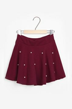 Sweet Basic Pleated Skirt with Pearls [FMCC0173]- US$ 8.99 - PersunMall.com