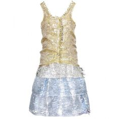 Marc Jacobs Metallic Fringed Dress ($1,921) ❤ liked on Polyvore featuring dresses, marc jacobs, short dresses, vestido, scoop neck cocktail dress, pastel dresses, mini dress and short metallic dress