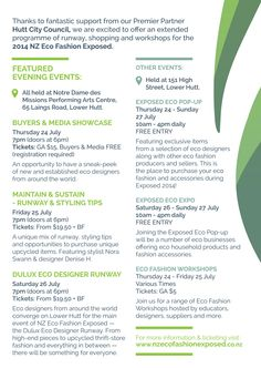 New Zealand Eco Fashion Exposed 2014 Programme
