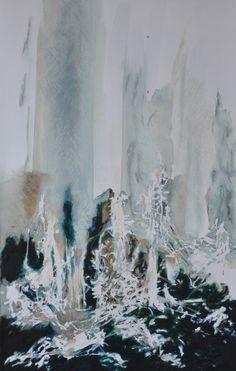 SELJALANDSFOSS I  2013 aquarelle, pastel à l'huile sur papier  100 x 65 cm