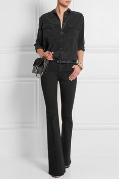 Black stretch-denim Button and concealed zip fastening at front modal, cotton, polyester, Lycra Machine wash inside out to avoid color transfer Designer wash: Vian Flare Jeans Outfit, Pants Outfit, Black Bootcut Jeans, Jeans Denim, Jean Outfits, Casual Outfits, Fashion Outfits, Equipment Blouse, Looks Style