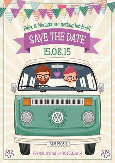 VW Campervan / Hipster Wedding Save The Date - Felix & Matilda are getting married this summer and got in touch looking for Wedfest to create them Wedding Save The Date Cards. Vw Bus, Volkswagen, Wedding Save The Dates, Save The Date Cards, Our Wedding, Wedding Stationery, Wedding Invitations, Invites, Wedding Cards