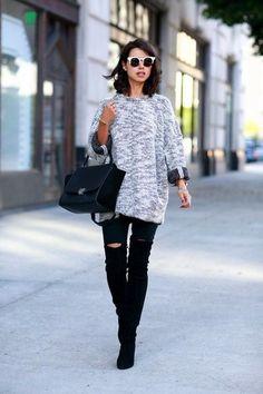 Schwarze Overknee Stiefel aus Wildleder für Damen kombinieren: Modetrends und Outfits für Sommer 2017 | Damenmode
