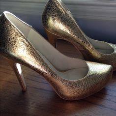 BCBG gold pumps 6.5 Worn once BCBG Shoes Heels