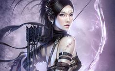 Saharinia had pointed ears, hair as black as charcoal and eyes to match. A scar ran through the middle of her eyes. She wore a strapless black suit and bands on her upper arm. She carried a bow which seemed to be glowing purple.