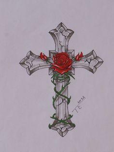 Cross With Roses Tattoo Tatoos3 Pinterest Tattoos Rose