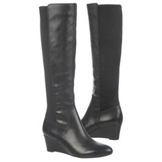 Quinlee wide calf boots wedge heel knee high neoprene back panel for easy put on/off and better fit for thick calves Knee High Wedge Boots, Black Wedge Boots, Wide Calf Boots, Tall Boots, Stylish Winter Boots, Leather Boots, Black Leather, Fashion Boots, Boots