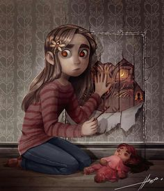 """Crossover Ava (comics """"Ava's demon"""") and Coraline (film """"Coraline"""") Coraline Art, Coraline Jones, Coraline And Wybie, Character Inspiration, Character Art, Character Design, Fanart, Avas Demon, Bd Comics"""