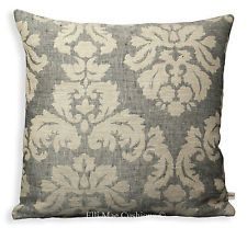 Designer Damask Linen Fabric Sofa Cushion Pillow Cover Grey Beige