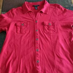 Soft red top Cute,  double pocket top. Buttons on the pockets and sleeves. Very nice. Style & Co Tops