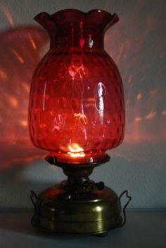 Antique Old Kerosene Oil German Victorian GWTW Ruby Red Cranberry Veritas Lamp | eBay