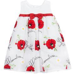 Monnalisa Baby Girls White Embroidered Poppy Print Dress at Childrensalon.com