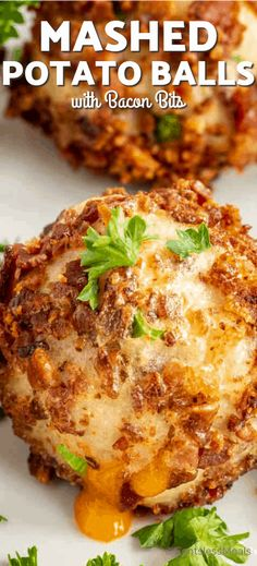 Mashed potato balls with bacon and cheese is the perfect recipe for leftover potatoes. Potatoes are mixed with bacon bits, stuffed with cheese, and rolled in even more bacon bits before being oven baked until the cheese oozes out. This delicious appetizer is best topped with gravy or served with a dipping sauce! #centeslessmeals #mashedpotatoballs #comfortfoods #appetizer #leftoverpotatoes #sidedish