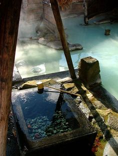 Adachiya onsen (hot spring) at Takayu, Shenanigans, Japan. Natural cold drinking water next to the hot spring. The blue milky water is that way naturally because of the low Ph. value of the water. Hot Springs Japan, Japanese Hot Springs, Oh The Places You'll Go, Places To Travel, Places To Visit, Onsen Japan, Japan Japan, Anime Japan, Kyoto Japan