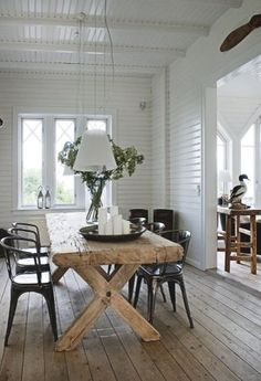 Wood plank floors, rustic/modern mix of furniture, white slat board walls. All things I want in my house!