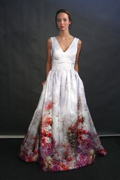 Ombre pink floral wedding dress by Heidi Elnora----- pattern at base rather than just another colour - could be a pink base with floral/ seaside/forest applique hem. Ombre Wedding Dress, Wedding Dress Trends, Designer Wedding Dresses, Wedding Attire, Bridal Dresses, Wedding Gowns, Floral Wedding, Wedding Ideas, Wedding Fun