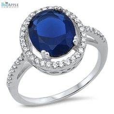 Dazzling Ring Oval Cut Deep Blue Sapphire Round White CZ Solid 925 Sterling Silver Solitaire Halo Wedding Engagement Promise Ring Love