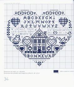 house sampler, heart shaped