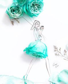 Artist Uses Real Flower Petals to Create Blossoming Fashion Illustrations : Floral Dresses Fashion Illustrations by Grace Ciao Fashion Drawing Dresses, Fashion Illustration Dresses, Dress Illustration, Fashion Sketches, Fashion Illustrations, Drawing Fashion, Arte Fashion, 3d Fashion, Floral Fashion
