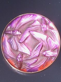 Lalique 1911 'Papillons' Brooch or Hat Pin: in clear & frosted glass w/purple reflecting foil & gilt metal backing // www.worthpoint.com