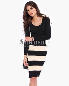 Black Long Sleeve Striped Bodycon Dress