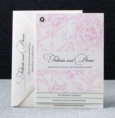 Felicia Booklet Wedding Invitation - Pink Peony Pattern Book Invitation