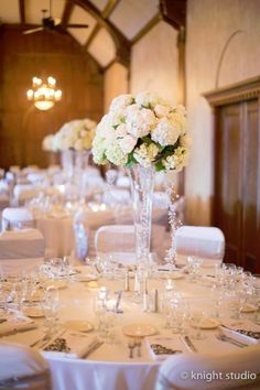 Buffalo Ny Wedding Centerpiece - white & pink hydrangeas & roses