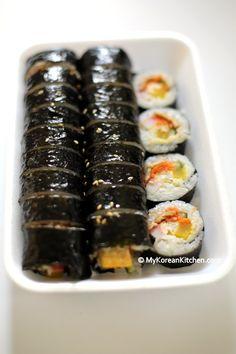 Kimbap (Korean rice rolls) - For a similar recipe http://mykoreankitchen.com/2006/10/13/vegetable-kimbab/