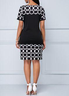 Circle Print Boat Neck Short Sleeve Dress   Rosewe.com - USD $30.72