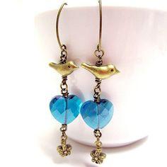 Teal Earrings - Teal Jewelry - Crystal Earrings - Brass Jewelry - Trendy - Bird - Flower - Crystal H