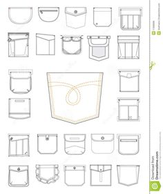 Clothes pockets and wallet Fashion Design Template, Fashion Design Sketches, Sewing Hacks, Sewing Tutorials, Clothing Patterns, Sewing Patterns, Sewing Pockets, Techniques Couture, Fashion Vocabulary