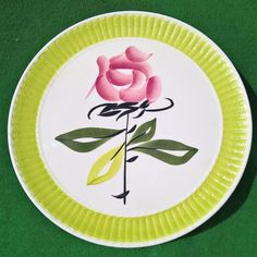FRENCH HANDPAINTED 13.4  CHARGER PLATE ROSE ANISE GREEN VAL D OR PLATTER DISH