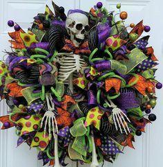 Mr. Bones-Skeleton Wreath-Halloween Skeleton by StudioWhimsybyBabs